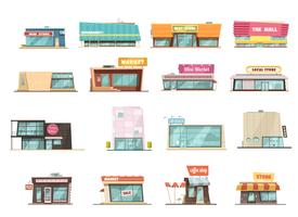 butik byggnad set