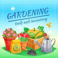Gartengeräte und Inventar-Design-Konzept