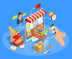 Kaufendes E-Commerce-Konzept-isometrisches Plakat vektor