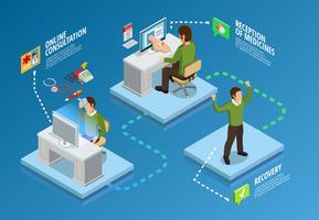Digital hälsa isometrisk mall vektor