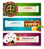 Casino 3 horizontale Banner gesetzt vektor