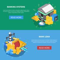 finansiella isometriska ikoner banners uppsättning