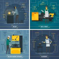 Infographic-Metallelemente der Metallbearbeitung 4 flache Ikonen