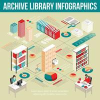 Archiv-Bibliothek isometrisches Infographik-Flussdiagramm-Plakat