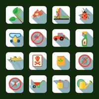 Pestizide quadratische Icons Set
