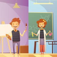 Barnutbildning 2 vertikala tecknade banners