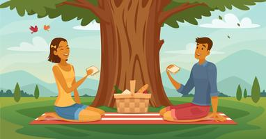 Sommer-Picknick-Paar-Retro- Karikatur-Plakat