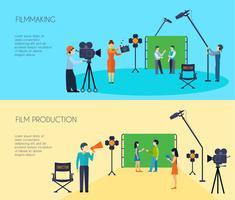 Filmproduktionsprozess 2 flache horizontale Banner