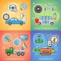 Driverless Auto Autonome Vehicle 2x2 Ikoner Set