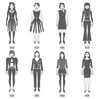 mode evolution svart vit ikoner uppsättning vektor