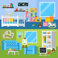 Kinderzimmer-Raum-Karikatur-horizontale Fahnen
