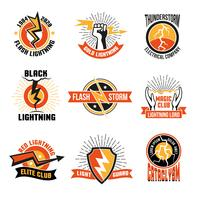Blitz Logo Emblem Set vektor