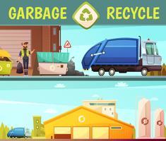 Müll-Recyclingunternehmen 2 Cartoon Banner vektor
