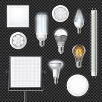 Led lampor realistisk genomskinlig uppsättning vektor
