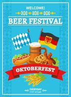 Oktoberfest Festival Welcome Flat Poster vektor