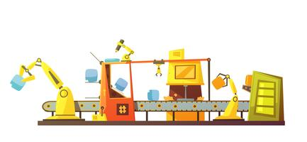 Automatische Lagerzeile Retro Cartoon Banner