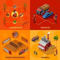 Isometrisches Konzept des Entwurfs des Holzfällers 2x2