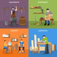 Handwerker Wohnung 2x2 Icons Set