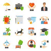 Flache Ikonen der Versicherungsunternehmen-Symbole eingestellt