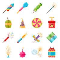 pyrotechnics festival platt ikoner uppsättning vektor