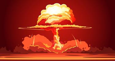 Nukleär explosion svamp moln retro affisch vektor