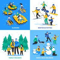 Konzept der Winteraktivität 2x2 vektor
