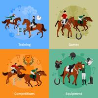häststigande sport 2x2 designkoncept vektor