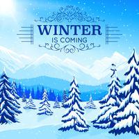 Vinterlandskapaffisch vektor