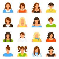 Frauen-Avatara-Ikonen eingestellt
