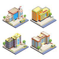 Isometrische Ikonen der Schulgebäude eingestellt vektor
