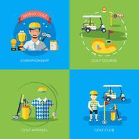 Golf 2x platt ikoner vektor