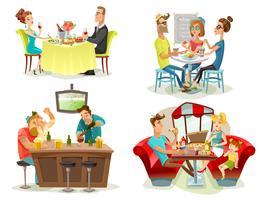 Restaurang Café Bar Människor 4 Ikoner vektor