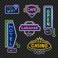 Neon Signboards Realistic Night Collection Transparent vektor