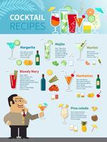 Cocktail Rezepte Poster vektor
