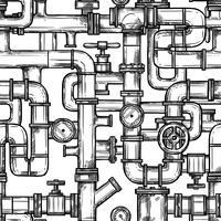 sketch pipesystem sömlösa mönster vektor
