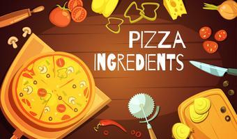 Pizza Ingredienser Bakgrund vektor