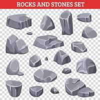 Große und kleine graue Felsen und Steine vektor