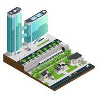 Isometrische Wolkenkratzer und Vorstadthaus-Zusammensetzung