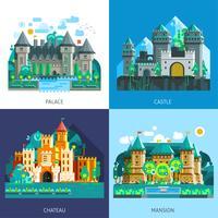Medeltida slott Set vektor