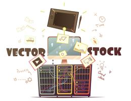 Microstock-Vektor-Konzept-Retro- Karikatur-Illustration