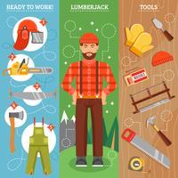 Arbete av Lumberjack Vertikal Banners Set vektor