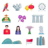 Singapour-Kultur-flache Ikonen eingestellt