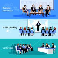 Konferenz Öffentliches Sprechen 3 Flache Banner vektor