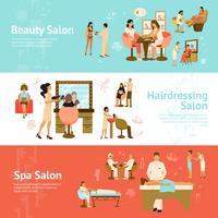 Människor i skönhets- och spa-salongen Horisontella banderoller vektor