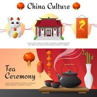 Horizontale Fahnen China-Kultur 2 eingestellt