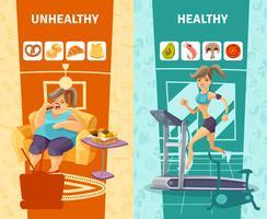 Hälsosam och ohälsosam kvinna Banners Set vektor