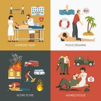 Erste-Hilfe-Konzept 4 flache Icons