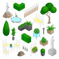 Gartenpark-Landschaftselemente vektor