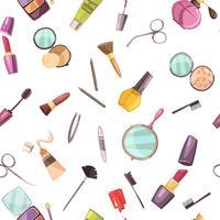 Kosmetiska Makeup Tillbehör Flat Seamless Pattern vektor