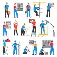 Elektriska Människor Dekorativa Ikoner Set